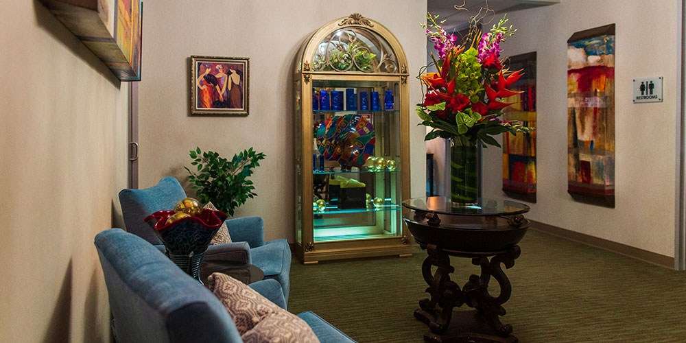 Waiting Room with colorful Decorations and Display Case