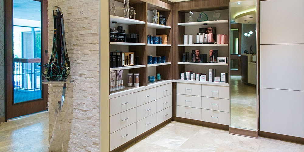 Interior of Medspa Counter of Products